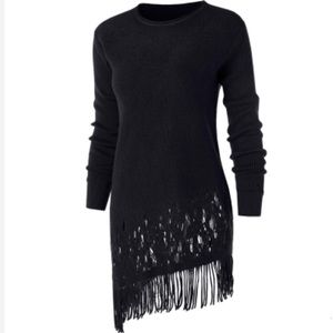 Sweaters - FRINGED Black Asymmetrical Pullover Sweater Sz 10